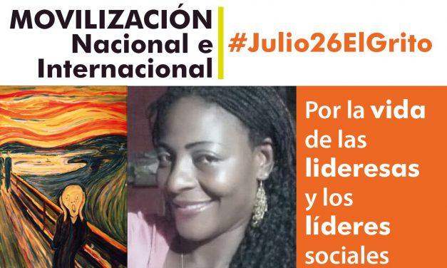 26 de julio: gran movilización por la vida de las lideresas y los líderes sociales