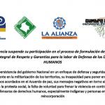 Plataformas de DDHH y Movimientos sociales suspenden participación en formulación de Política Pública de Derechos Humanos