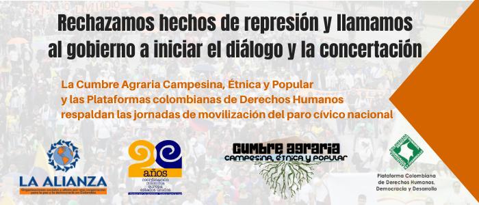 Plataformas de DDHH  y Movimientos sociales rechazamos represión en Paro Nacional y llamamos a iniciar diálogo y concertación
