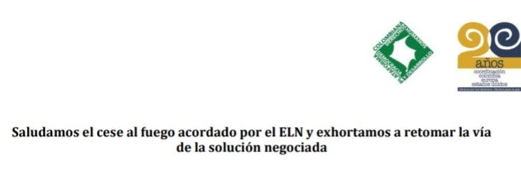 Plataformas de DDHH: Saludamos el cese al fuego acordado por el ELN y exhortamos a retomar la vía de la solución negociada