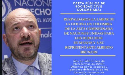 Carta de la sociedad civil: Respaldamos la labor de la OACNUDH en Colombia y a Alberto Brunori