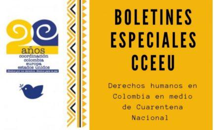 Boletines especiales CCEEU sobre DDHH en medio de cuarentena nacional