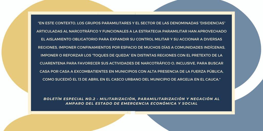 Boletín 2 CCEEU: Militarización, paramilitarización y negación al amparo del estado de emergencia económica y social