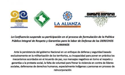 Plataformas de DDHH y Movimientos sociales suspenden participación en formulación de Política Pública de DH